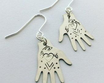 Silver Tone Frida Kahlo Hand Earrings - Heart Design - Tattoo