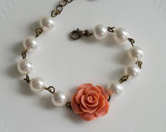 Dark Orange Rose Bracelet. Glass Pearls Beaded Bracelet. Bridesmaid Wedding Jewellery. Romantic Rose Flower Bracelet. Adjustable Bracelet