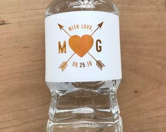 Gold Foil Waterproof Water Bottle Labels - Silver Foil Metallic Labels - Wedding Water Bottles - Party Drink Stickers - Heart Arrow Hipster