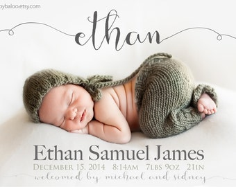 Fancy NAME BIRTH ANNOUNCEMENT - Photo Baby Announcement - Baby Girl Announcement - Baby Boy Announcement - Newborn Modern Printable Digital
