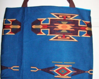 Dark Blue Southwestern Tote Bag with inside pocket  16 X 16 X 3 Made in the USA