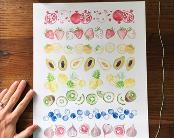 Fruit Art. Rainbow Fruit Print. Watercolor Fruit. Fruit Painting. Kitchen Decor. 11x14 Wall Art. Gift Under 30. Ready to Frame. Foodie Gift