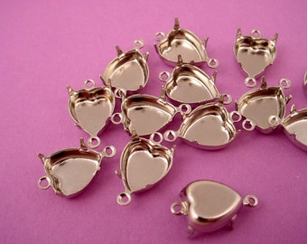 12 silver tone Heart Prong Settings 10mm 2 Ring close Backs connectors