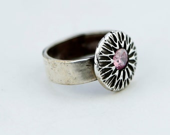 Pink CZ Sterling Silver textured ring
