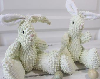 Vintage Chenille Bunny Rabbit, Easter Basket, Home Decor, Twin Rabbits,