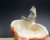 howling wolf heart bowl - trinket bowl porcelain original