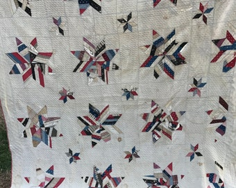 Antique/Vintage 1920's Era Hand Quilted Star Pattern Off White with Pink Trim Earlier Quilt
