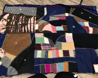Vintage Hand Quilted Crazy Quilt Cutter Quilt Piece
