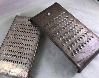 Pair of Antique/Vintage Rapid Brand Metal Flat Graters