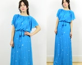 vintage maxi dress, boho maxi dress, turquoise blue dress, 80s maxi dress, evening dress, occasion dress, hippie dress, vintage blue dress