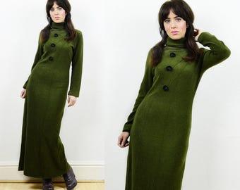 80s jumper dress, green knitted dress, maxi dress, knitted maxi dress, jumper dress, bodycon dress, green winter dress, Roll neck dress