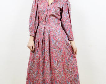 Vintage shirt dress, Cotton dress, paisley print dress, 80s shirt dress, boho dress, vintage boho dress, cute day dress, office dress