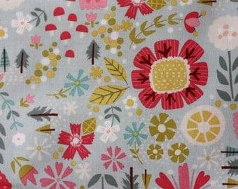 1 yard Goldilocks Blue Teal Floral Goldi fabric by Riley Blake Designs by Jill Howarth fat quarter half