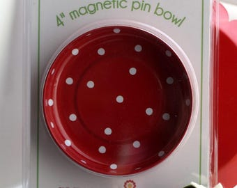 """SALE 4"""" Magnetic Pin Bowl by Pleasant Home Red Polka Dot"""