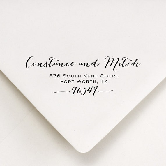 Return Address Stamp Calligraphy Style Wedding Stamp With