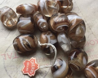 Vintage brown and clear oval beads