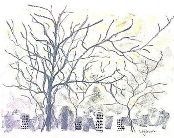 "City Trees, original signed drawing b186 (9"" x 12"")"