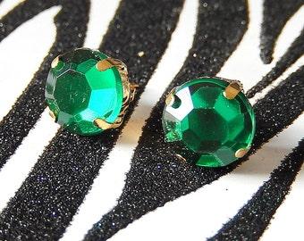 Round Green Jewel Earrings, Acrylic Emerald Studs, Rhinestone Gem Posts