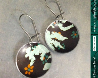 Pale Sage & Chocolate -- Upcycled Tin Tiny Basin Earrings
