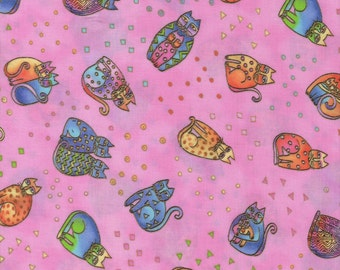 RARE Laurel Burch Fanciful Felines Cats All Over in Pink 1 yard