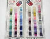 Vintage Lily Mercerized Sewing Thread Boil Proff Colors Salesman's Sample Double Card