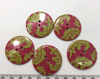8 pcs of 34 mm Graphic Printed Buttons -  Green Leaves on Bright Red