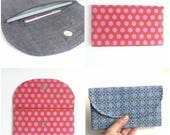 polka dot cash envelope wallet checkbook cover. magnetic snap red pink fabric womens coupon holder case. cute gift idea