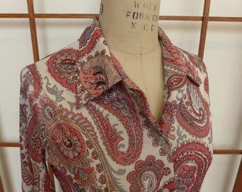 Vintage 70s Paisley Polyester Blouse/Shirt