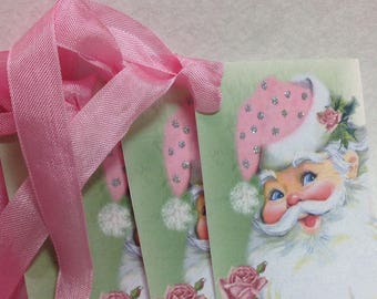 Set of 6 Shabby Cottage Pink Santa Gift Tags