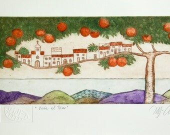 Mediterranean art print, orange tree wall art, seaside art, landscape art print, tree print, hills and valleys art, oranges, fruit tree