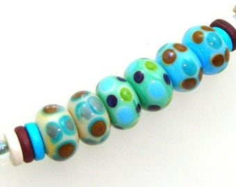 Handmade Lampwork Glass Beads - 3 pairs. Stacked dots on vanilla, celadon & turquoise. Retro colors, dotties, earring pairs.