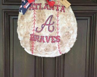 Atlanta Braves Burlap Baseball Wreath