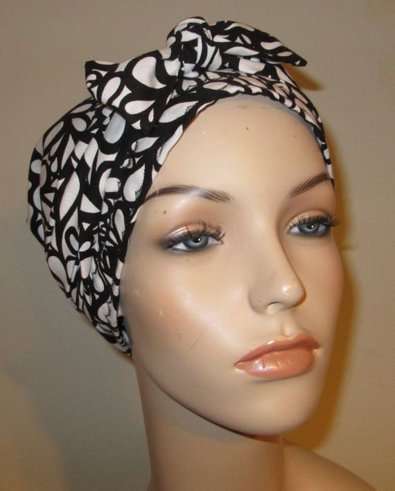 Chemo Scarf, Hat Black White Leaf Cancer Hat, Hijab, Alopecia MADE in USA