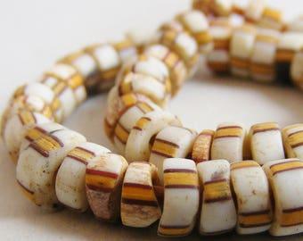 antique Venetan trade beads, STRIPED GLASS BEADS, Italian glass beads, pow wow regalia beads, destash, jewelry supplies