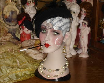 Smoking Flapper Mannequin Head Vintage Style White Haired Hat Display