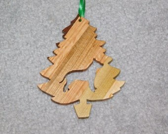 Wood Christmas Tree Dog Ornament -  Pit Bull
