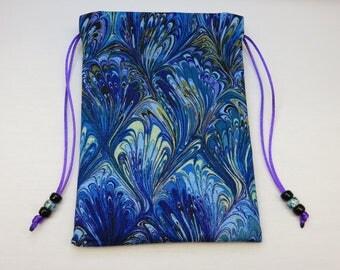 Multi Swirls Blue Silk Lined Tarot Bag, Tarot Pouch, Handmade 5 x 7