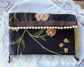 Romantic,Small Evening Clutch, All Hand Made,Embroidery, Laces, Handsewn Faux Pearls,Chiffon Roses, Handmade Bag, Purse, Victorian,Beads