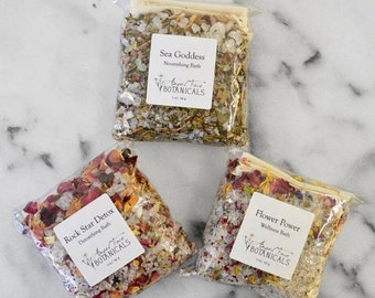 SALE - Organic Bath Salt Sampler Set - 3 Unique Herbal and Essential Oil Scents: Flower Power, Rock Star Detox, and Sea Goddess