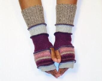 Fingerless Gloves, Armwarmers, Patchwork gloves (Light Grey/Patched Burgundy Stripe/Burgundy/Light Grey/Light Brown Tweed) by BrendaAbdullah