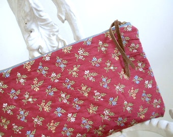 Floral jacquard clutch, large utility pouch, journal case - brick, terra cotta rose - eco vintage fabrics