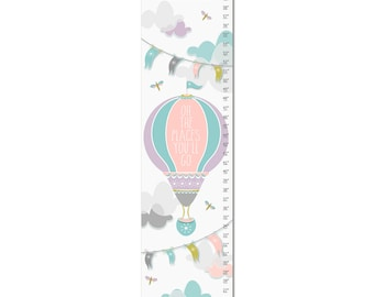 Custom Canvas Growth Chart - Oh The Places You'll Go Hot Air Balloon - Lavender Pink Blue