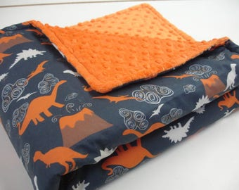 Dinosaur Land Navy Orange Minky Blanket MADE TO ORDER