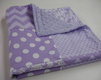 Love Lavender Baby Security Blanket 25 x 38 READY TO SHIP On Sale