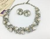 Vintage Lisner Choker Necklace & Earring Set, Demi Parure, Moon-glow Acorn/AB Rhinestones, Wedding Jewelry