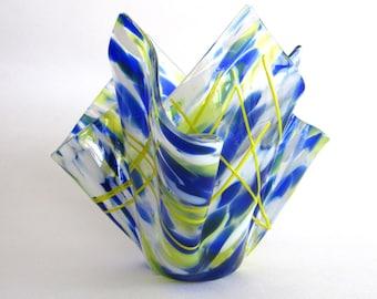Fused Glass Vase Handkerchief Cobalt Blue Yellow Transparent Handmade Sculpture Votive Candle Holder Dawn of Creation Glass