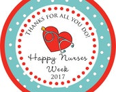 Nurse Appreciation Week Gift Nurses RN stickerThank You PERSONALIZED Stickers, Tags, Labels, or Cupcake Toppers, various sizes