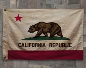 Vintage Style Cotton Stitched California Republic USA State Flag, Linen Bear Pennant
