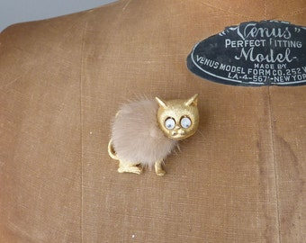 Vintage Cat Pin Googly Eye Mink Goldtone Kitty Kat Brooch Mid Century Novelty