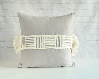 Grey tribal pillow, Moroccan pillow, Simple modern pillow, Decorative pillow, Spring decor pillow, Applique pillow, Linen pillow cover